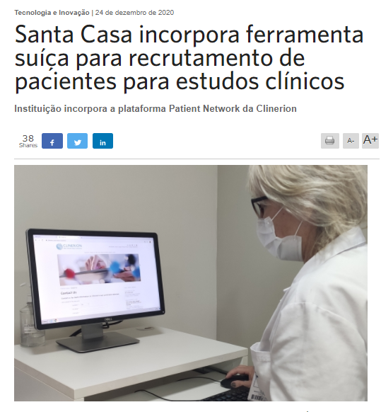 Press article: Santa Casa incorporates Swiss tool for recruiting patients for clinical studies (Setor Saúde, translation)
